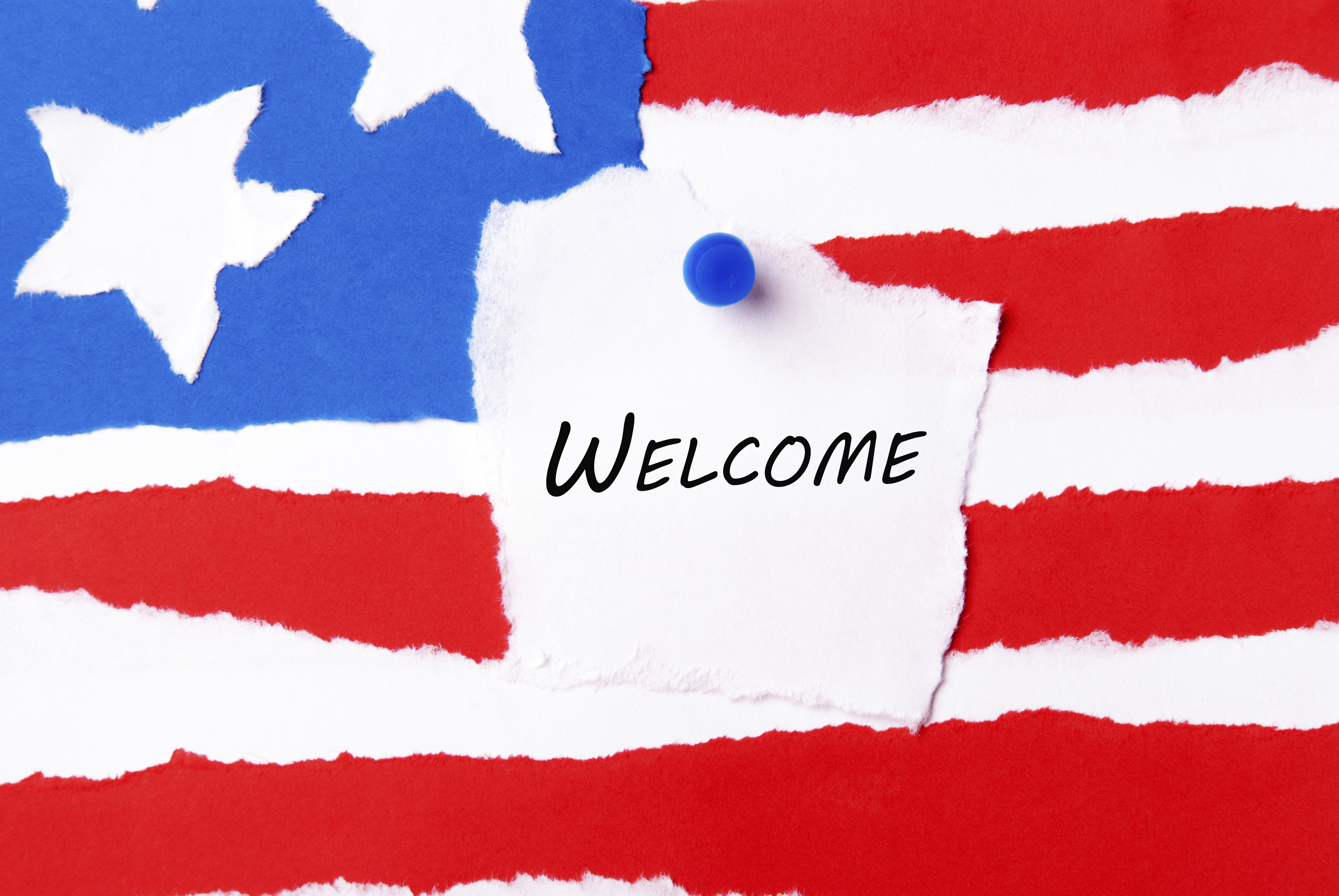 Welcome Note on an American Flag Background